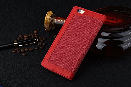 iPhone Case Cover Leinen-Leder eingewickeltes Muster gemischte Farben-PU-lederner Mappen-Kasten mit Bargeld-Karten-Schlitz-Standplatz-Fall für IPhone 7 ( Color : Red , Size : IPhone 7 ) Red
