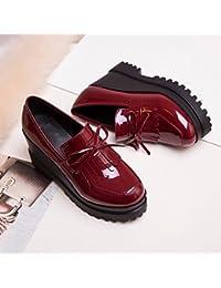 KPHY-En Verano La Nueva Pendiente con Poca Boca Calzado Zapatos Moda Todos Coinciden Zapatos Casuales Zapatos De Cuero Comodos. Treinta Y Ocho De Gules