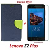 RidivishN Lenovo Z2 Plus (COMBO OFFER) Flip Cover Case Wallet Style ( Blue & Green) + Premium Tempered Glass screen Protector - ( Transparent )
