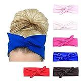 Damen Stirnband mit Knoten, Haarband / Zubehör für Sport oder zum Laufen, 6Pack
