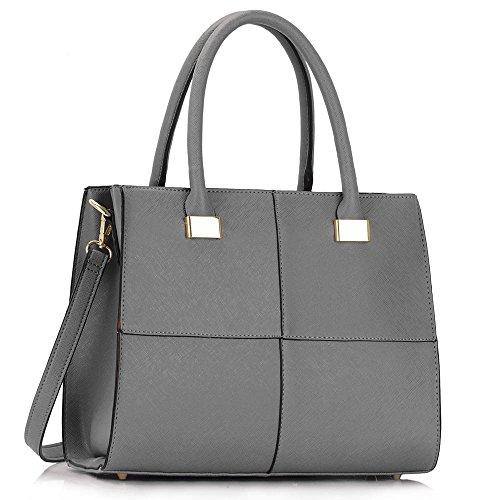 LeahWard® Femme Mode Qualité Simili Cuir Sacs À Main Chic Styliste Sac LS00153M gray
