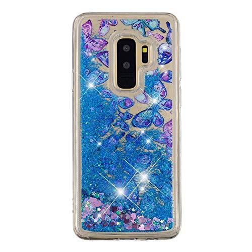 Glitzer Flüssig Handyhülle für Galaxy S9, EDAROO Bling Blaue Herzen Glänzend Glitter Fließende Treibsand Flüssigkeit Wasser TPU Silikon Schutzhülle für Samsung Galaxy S9 - Aquarell Schmetterlinge -
