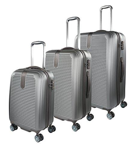 Traveller Rome Hartschalen Kofferset, 4 Rollen 3er Reisekoffer Set für Damen und Herren mit TSA Schloss – (S, M & L), Grau