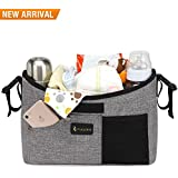 Baby Stroller Organizer With Cup Holders Universal - Mini Diaper Bag With Shoulder Straps Extra Large Storage Space For IPhone