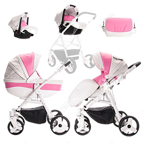 Friedrich Hugo | Modell Easy Comfort | 3 in 1 Kombi Kinderwagen | Farbe: White Pink & Eco Leather