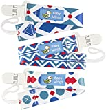 Original Dummy Clip by Baby Wings - 3 Pack - Unisex Pacifier Holder for Boys and Girls with Funky Eye-Catching Design - Best Washable Soother Leash With Plastic Clip For Baby's Favourite Pacifier