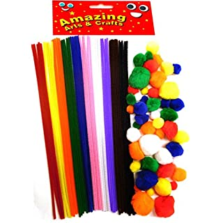 50 Pipe Cleaners 300mm x 4 mm and 50 Pom poms pack by Amazing Arts and Crafts
