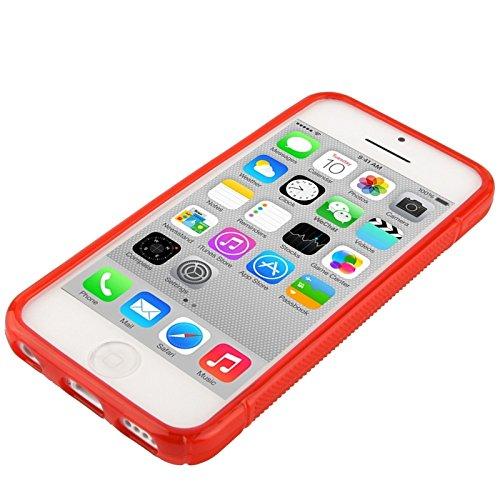 Wkae Case Cover S-Linie durchlässiges Antiblockier-bereifte TPU Schutzhülle für das iPhone 5C ( Color : Black ) Red