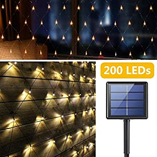 Solar LED Net Light 200 LEDs Mesh Fairy String Lights, Outdoor Waterproof 9.8 * 6.6ft Tree Wrap Lights, 8 Modes Auto On/Off Decorative Lights for Garden Backyard Patio Balcony Fence (Warm White)