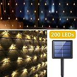 Catena Luminosa Solare, 200 LEDs Tenda Luci Stringa, 3M x 2M Esterno Impermeabile Luci Cascata, 8 Modalità Auto On/Off Luci Decorative per Garden Cortile Patio Balcone Decorazione Feste (Bianco Caldo)
