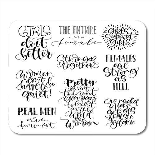 Almohadillas para mouse Citas feministas El futuro es femenino Las niñas se apoyan Juntas más fuertes Almohadilla de mouse con gráfico de caligrafía de pincel moderno para computadoras portátiles, com