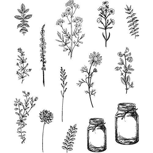 Art Gone Wild Tim Holtz Blume Jar selbst Gummi-Stempel-Set, Mehrfarbig Daisy Storage Jar