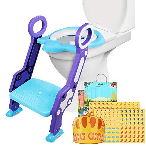 Riduttore Water Wc per Bambini con Scaletta Pieghevole, Può Essere Piegato (Blu)
