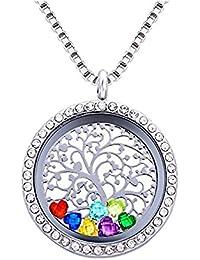 Amor corazón familia árbol de la vida flotante con camafeo de memoria colgantes, DIY Collar con colgante de acero inoxidable con 12Birthstones