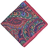 Prettystern Tenue de costume pour homme en jacquard à motif cachemire 100% soie carré poche en tissu rouge foncé No.11