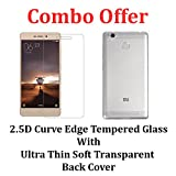 #6: Febelo Combo Pack of 2.5D Pro HD+ Curve Edge Tempered glass Screen Protector + Perfect Fitting Soft Transparent Back Case Cover For Xiaomi Redmi 3S / Xiaomi Redmi 3S Prime