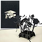 PaperCrush® Pop-Up Karte Glückwunsch zur Prüfung [NEU] - 3D Glückwunschkarte zum bestandenen Doktor, Examen, Bachelor oder Master Abschluss - Handgefertigte Geschenkkarte mit Doktorhüten