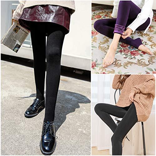 2 Stück Winter Warme Leggings, Frauen Hoch Taillierte Samt Elastische Strumpfhose Hosen, Dicke Samt Gefüttert Thermische Dehnbare Leggings Strümpfe Hosen für Mädchen
