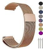 Metou03 18mm Adjustable Metallo Loop Acciaio Inossidabile Sostituzione Straps Band, Compatibile con Fossil Gen 3 Q Venture/Gen 4 Q Venture HR/Q Tailor, Huawei Watch/Fit, LG Watch Style (18mm,Oro Rosa)