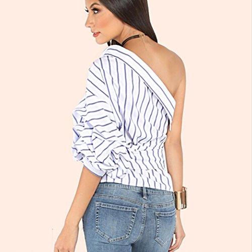 OverDose Damen gestreifte Blusen eine Schulter halbe Hauch Hülsen T-Shirts Bogen dünne Taillen Oberseiten Weiß