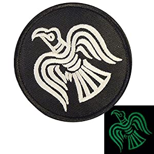 Glow Dark Rare Viking Raven Odin God of War Morale Embroidered Velcro Écusson Patch