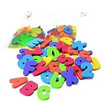 SevenMye 36 pcs Alphabet Baby Bath Toy Foam Letters Numbers with 37CM Bath Toy Storage Organizer Bag