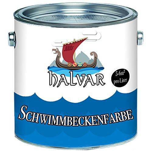 Halvar Schwimmbeckenfarbe skandinavische Poolfarbe Schwimmbadfarbe Schwimmbeckenbeschichtung in Blau Weiß Grün (10 L, Blau)