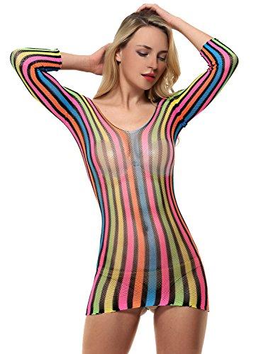 AMORETU Damen Dessous Mini Kleid Rainbow Gestreiften Sexy Fischnetz-Chemise (Chemise Stretch Floral)