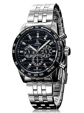 Alienwork IK mechanische Automatik Armbanduhr Multi-funktion Automatikuhr Uhr schwarz silber