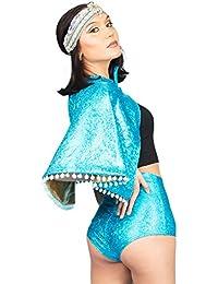 40dd5a3c03 MADWAG Holographic Reversible Pom Pom Festival Cape  Turquoise Black Blue…