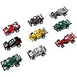 Mini Voiture Miniature Véhicule de Construction Jouets à Friction avec 9 Pièces Voiture de Course Pour Enfant 3 Ans