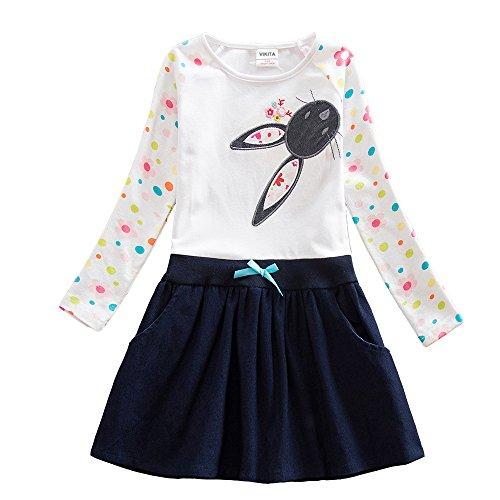 VIKITA Mädchen Blumen Langarm Baumwolle Kleid EINWEG LH5922 7T