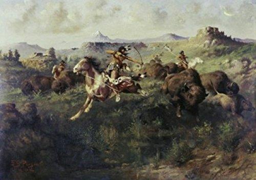 Edgar Samuel Paxson - Buffalo Hunt Edgar Samuel Paxson (1852-1919 American) Poster Drucken (60,96 x 91,44 cm) -