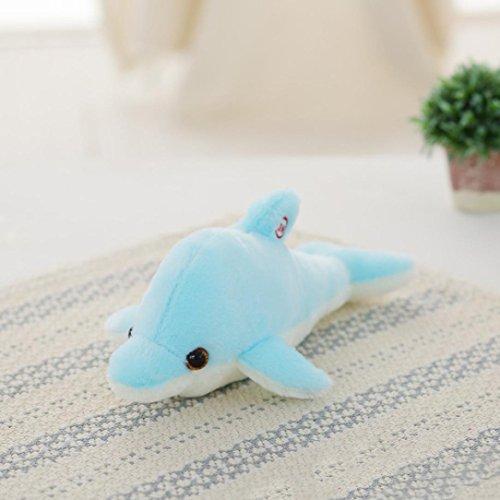 """DOLDOA Kinder Geschenk,Emoji/Delphin/Mond LED leuchtende Licht Kissen weichen Kissen Kissen Relax Dolls Heimdekorationen (Größe Delphin: 32cm/12,59""""- 2 Stück Batterien,Blau)"""