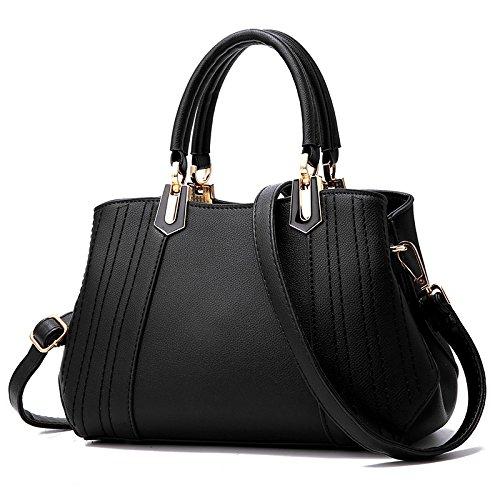 GUANGMING77 Onorevoli Borsetta Sacchetto Signora _ Tutti-Match Spalla Tessuti,Stile Rosa Tre Style three black
