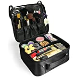 Becko Black Portable Travel Cosmetic Makeup Bag / Toiletry Bag (Black)