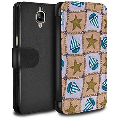 Stuff4 PU Cuero Funda/Carcasa/Folio/Cover en Para el OnePlus 3 / serie: Barco/modelo de estrellas - Marrón/azul