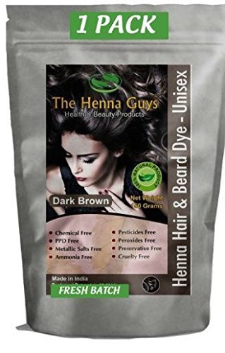 DARK BROWN Henna Hair Color / Dye - 1 Pack (2 Step Process) - The Henna Guys by The Henna Guys