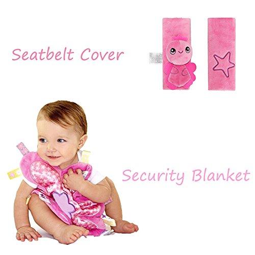 INCHANT-Kind-Baby-Sicherheitsgurt-Kissen-Schulterpolster Sitzgurt Cover + gestickte Tröster Decke mit bunten Tags, Rosa (Gestickte Tröster)