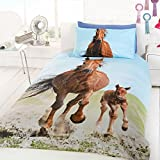 Price-Right-Home - Set fodera per cuscino e copripiumino per letto a 1 piazza, motivo: cavalli