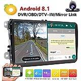 Doppia 2DIN autoradio per VW Volkswagen Android 8.1 GPS 9inch 2GB RAM autoradio con di navigazione FM AM Autoradio Bluetooth Dash HD 1080P Car Audio Player + Camera + GPS Map Carta