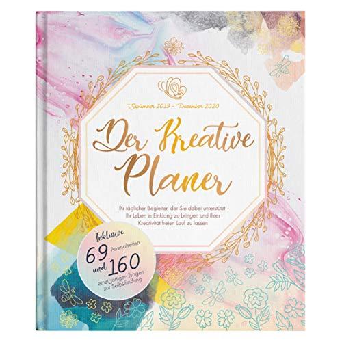 Wochenplaner 2019 2020 - Der Kreative Planer - 4-in-1 - Einzigartige Mischung aus Planer, Bullet Journal, Malbuch für Erwachsene und Tagebuch inkl. 69 Ausmalseiten - 18.5cm x 22cm, Kalender 2019 2020