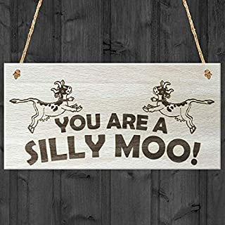 Kue Herp You Are Ailly Moo! Funny Cow Friendship Antique Wood Sign Wall Hanging Vintage Style Beautiful Home Decor 5 x 10 Inches