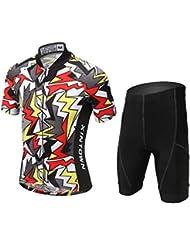 LSERVER Combinaison de Maillot Cyclisme Velo Pantalons Pour Enfant