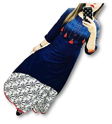 Leriya Fashion Blue Cotton Silk Women's Kurta (Kurtis For Women Latest Design_Large)