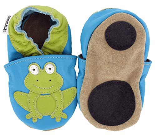 HOBEA-Germany Baby Lauflernschuhe Tiermotiv mit Anti-Rutsch-Sohle, Kinder Hausschuhe mit Tiermotiv: Frosch, Größe: 20/21 (12-18 Mon)