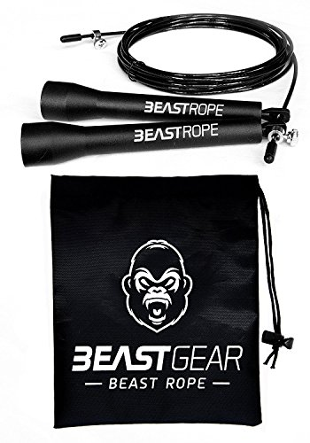 Speed Skipping Rope by Beast Gear – For Fitness, Conditioning & Fat Loss. Ideal for Crossfit, Boxing, MMA, HIIT, Interval Training & Double Unders
