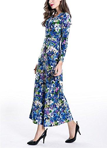 Mesdames Robes Longues Longues Manches Boheme Plage D'Été Chic Vintage Elegantes Robes De Plage Robes Casual Bleu