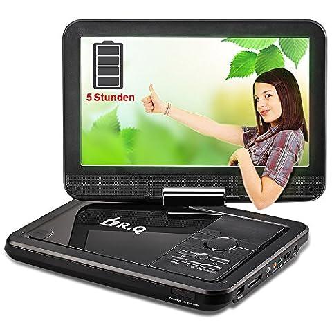 """10.5"""" tragbarer DVD-Player, 3000mAh 5 Stunden Akku, drehbares HD Display, Videogeräte für Kopfstützen von DR.Q, multi Medienformaten Unterstützung, unterstützt SD Karte und USB, Schwarz."""