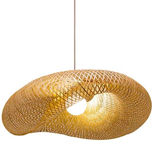 e Mode Handgewebte Bambus Hängen Licht Chrom Unterputz Deckenbeleuchtung Kreative Welle Hut Design DIY Gras Vine Wicker Lampenschirme E27 Anhänger Leuchte,60cm ()